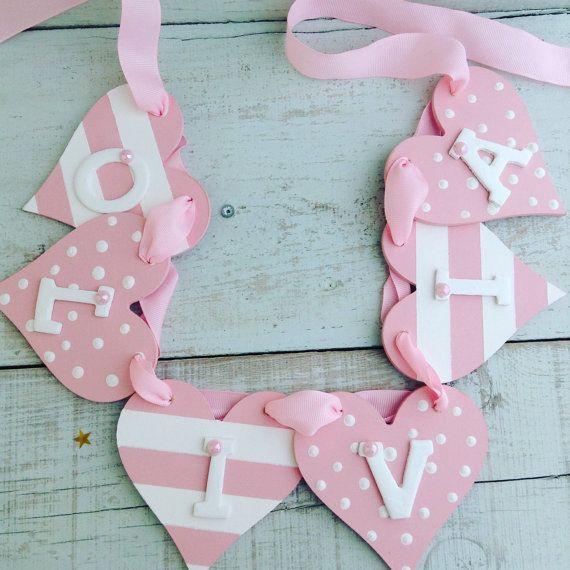 Personalised baby garland wooden name bunting by LittleEnglandPT
