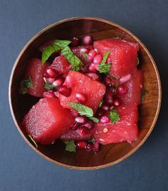 Summer salad - watermelon, pomegranate, mint, lime. Yes! I love these flavors together :)
