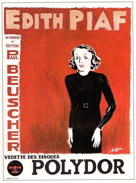 Edith Piaf Poster 95 x 13 Folies Bergere Paris by JohnKlineArtwork, $10.00