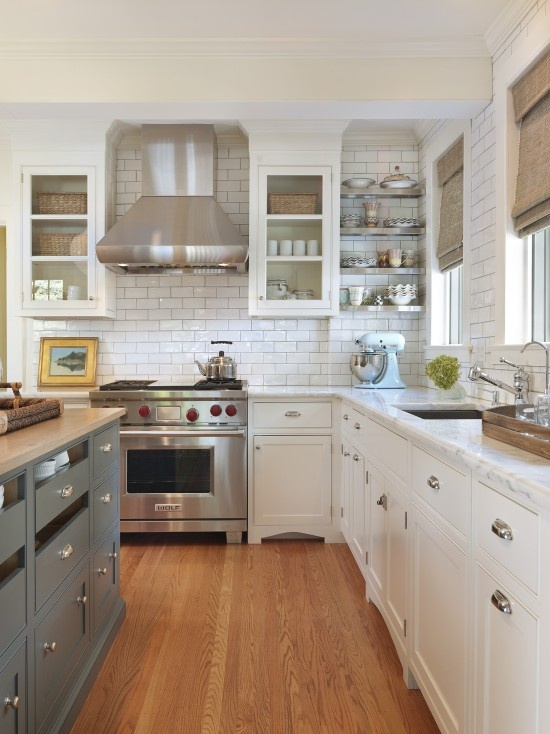 blue grey with cream & browns: Butcher Blocks Countertops, Cabinets Colors, Kitchens Design, White Kitchens Cabinets, Kitchens Ideas, Kitchens Islands, White Subway Tile, White Cabinets, Blue Gray Kitchens