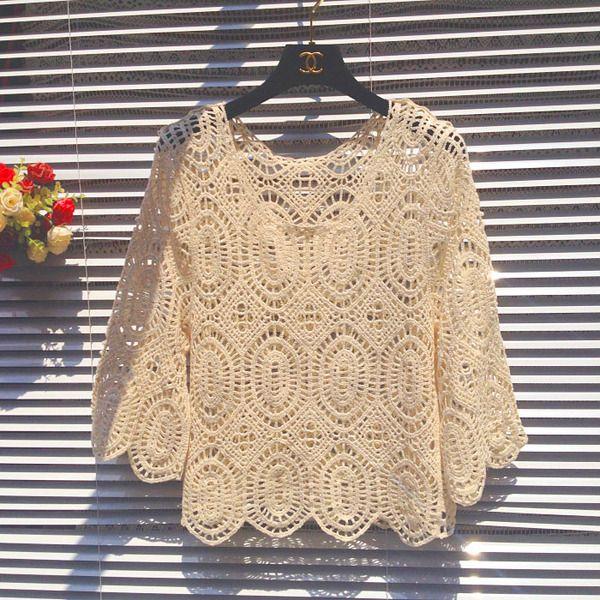 2016 лето новые корейские женщины свободно тонкий свитер полый крючок цветок короткий параграф блузку рукав рубашки