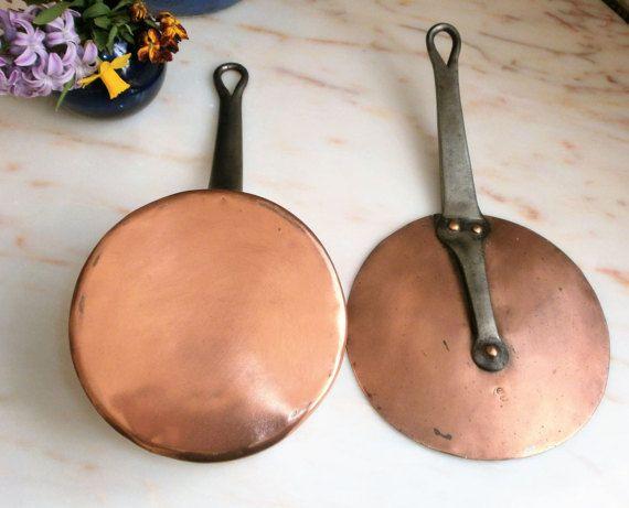 Vintage casserole en cuivre étamé cuisine par FrenchVintageByManue