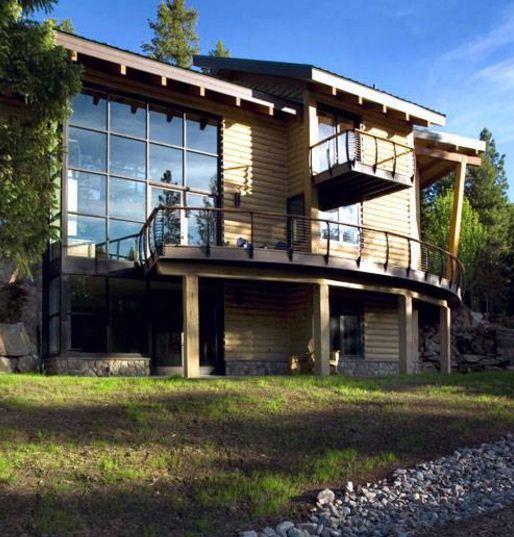 fachadas de casas modernas con troncos