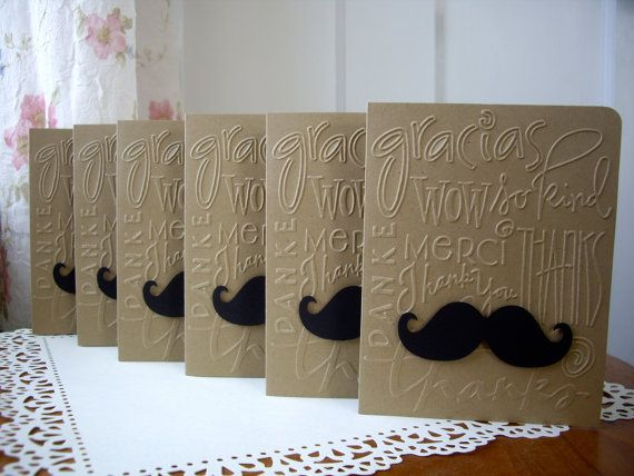 mustache card set thank you mustache cards by JDooreCreations, $7.75