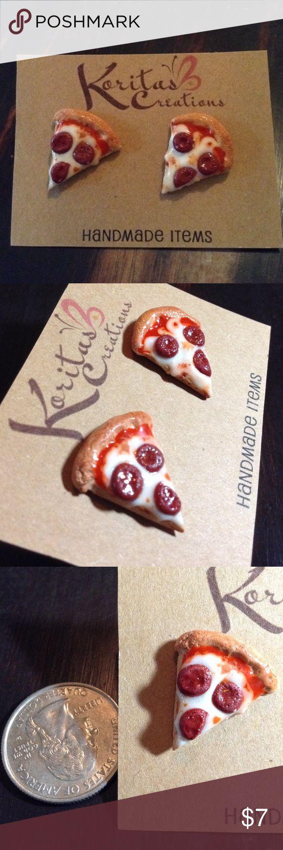 Pizza earrings studs New Handmade One of a kind Pizza earrings, made out of polymer clay. Smoke Free Home  Handmade Jewelry Earrings