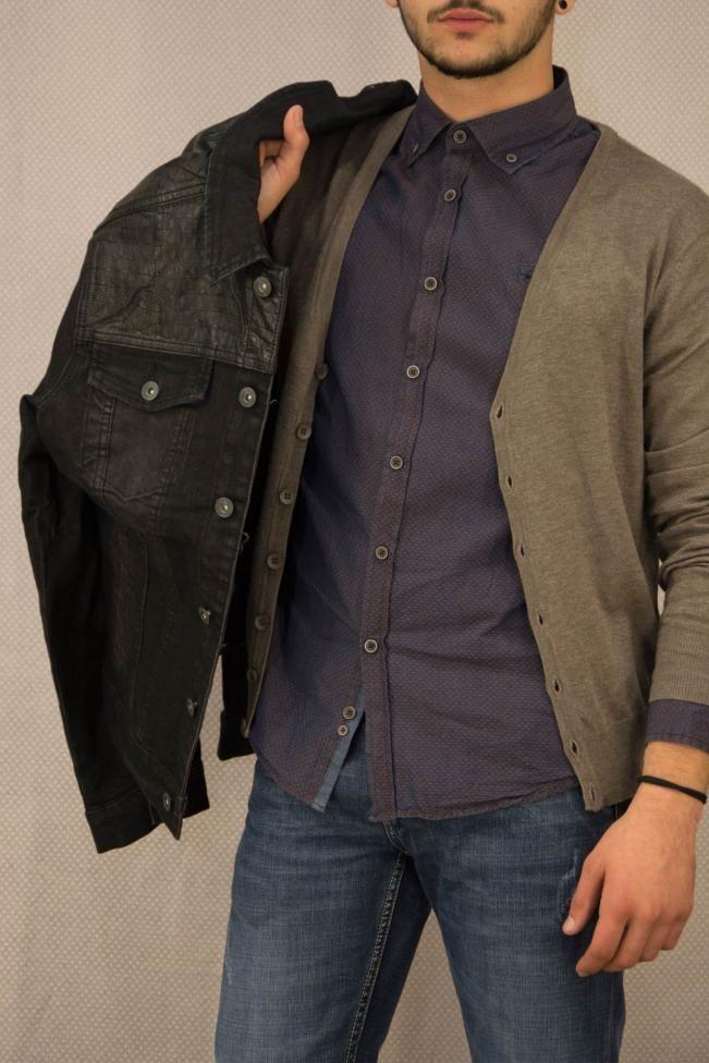 Ανδρικό πουκάμισο slim fit με σχέδιο  POUK-1653 Πουκάμισα - Άνδρας