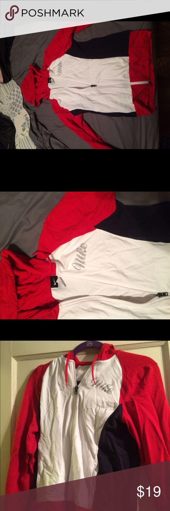 Nike zip up hoodie Black white and red womens Hoodie, lightweight, black white and red Nike Tops Sweatshirts & Hoodies