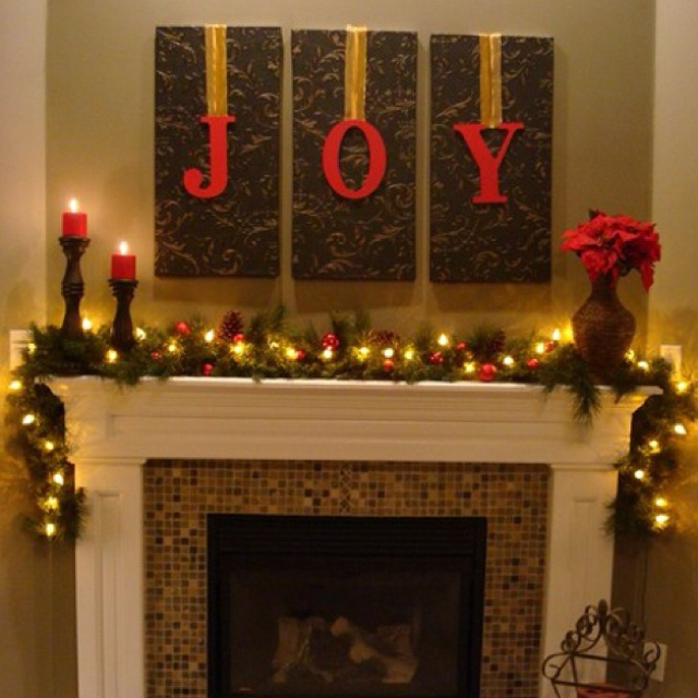 Put J-O-Y hanging from burlap-covered frames instead