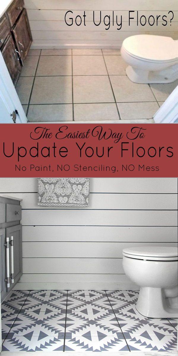 Floor Stickers In The Bathroom Floor Makeover Bathroom