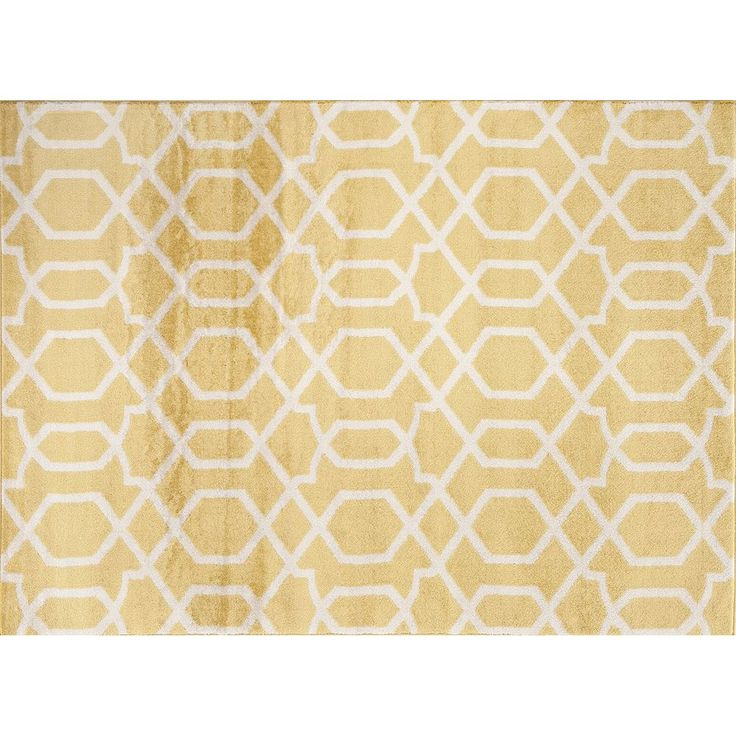 World Rug Gallery Toscana Contemporary Trellis Rug, Med Yellow