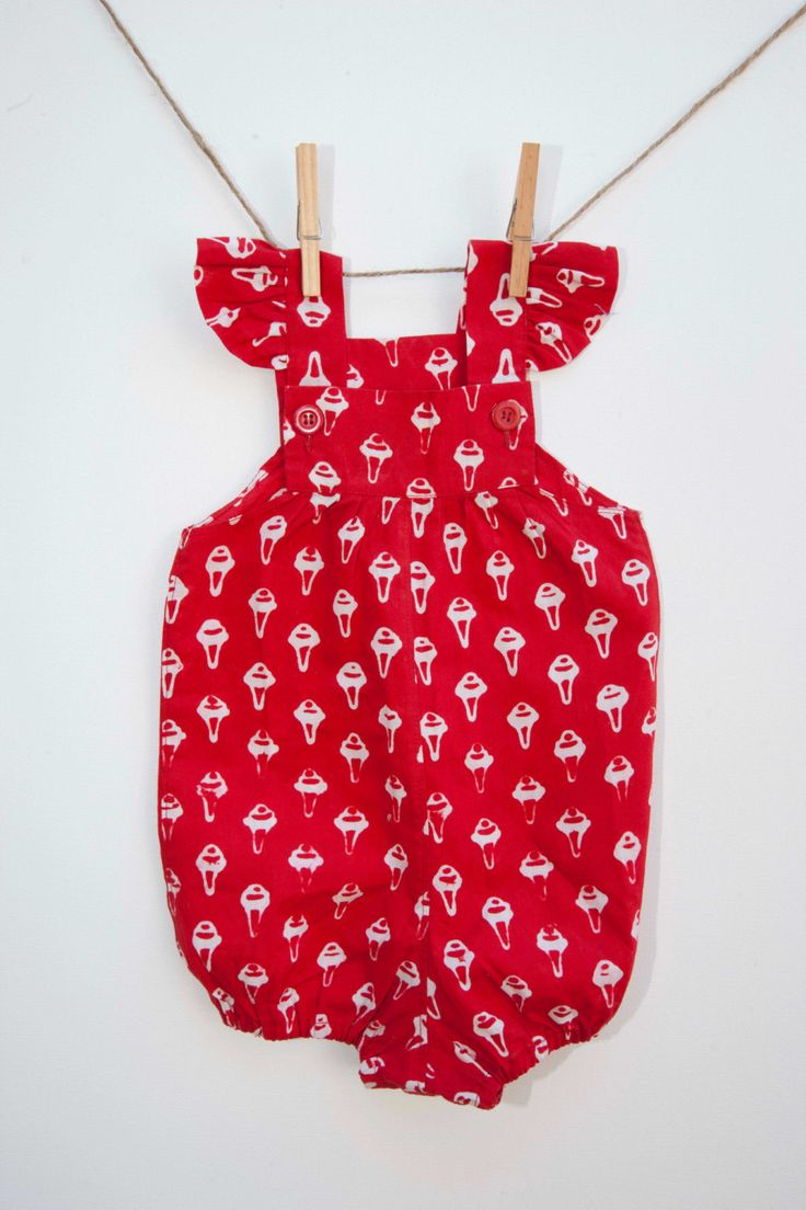Pop Art Baby  Girl Romper in Bright Red! Only 2 available! Size 0 (6-12months approx.) by SacredHeyokah on Etsy