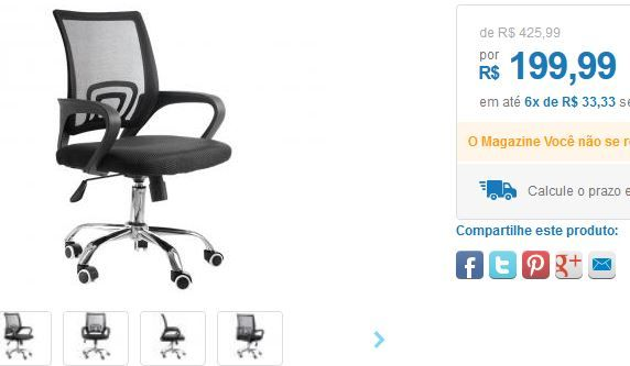 Cadeira de Escritório Giratória de Tela - Travel Max Diretor << R$ 19999 em 6 vezes >>