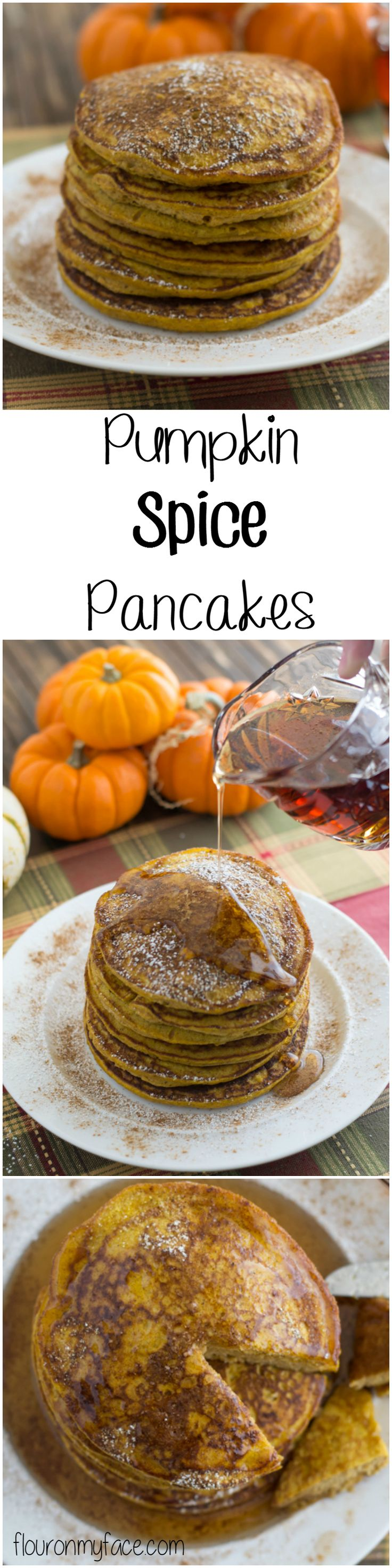 Enjoy your favorite fall flavor with these Pumpkin Spice Pancakes with Cinnamon Syrup via flouronmyface.com