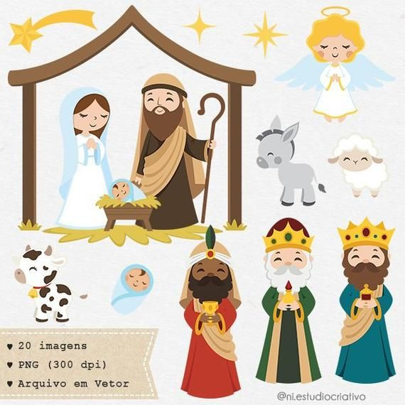Nativity Scene Clipart Set Christmas Clipart Png And Vector Baby Jesus Joseph And Mary Angel 3 Kings Cute Holy Images C039 In 2021 Christmas Clipart Nativity Scene Clip Art