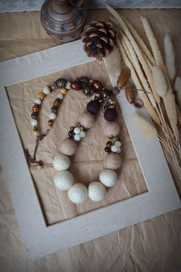 Felting. Necklace from felt and natural stones