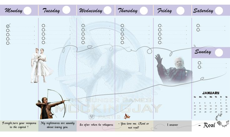 Free printable weekly planner- calendar-the hunger games-mockingjay-part II-to plan your weekly schedule