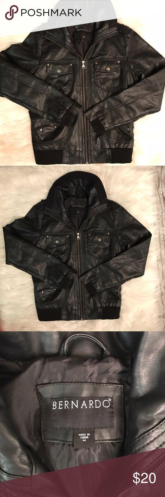 Black faux leather jacket Super cute black faux leather jacket. Perfect condition! Bernardo Jackets & Coats