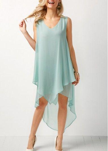 b3e075e63690 V Neck Sleeveless Asymmetric Hem Chiffon Dress | modlily.com - USD $30.58