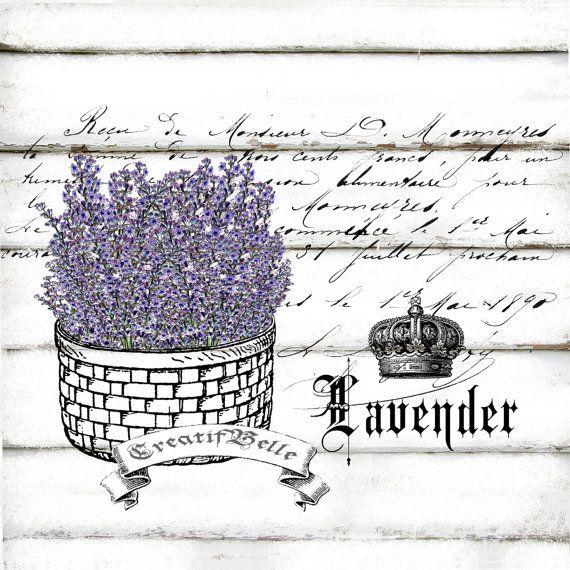 Vintage Lavender Basket Large A4 Instant Digital by CreatifBelle