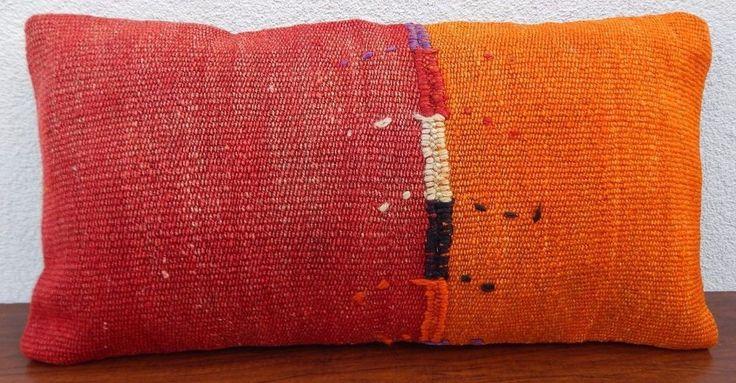 12x24'' Lumbar Kilim Pillow Cover,Long Tribal Outdoor Throw Kelim Kissen Cushion #Handmade