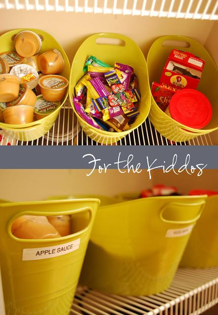 Room to Inspire: Snacks for kids  Love this idea to have buckets for kids snacks in the pantry!