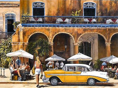 Cuban Cafe - cuba, chevy, cafe, street scene, cityscape, arches, art, scenery, artwork, painting