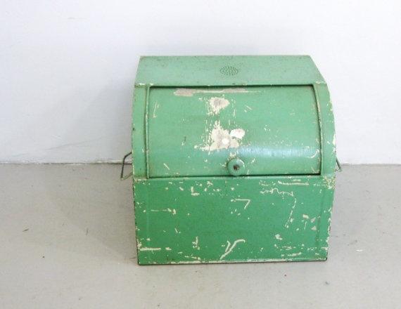 Vtg Antique KREAMER Green Painted Metal Roll by sixcatsfunSTUFF, $75.00