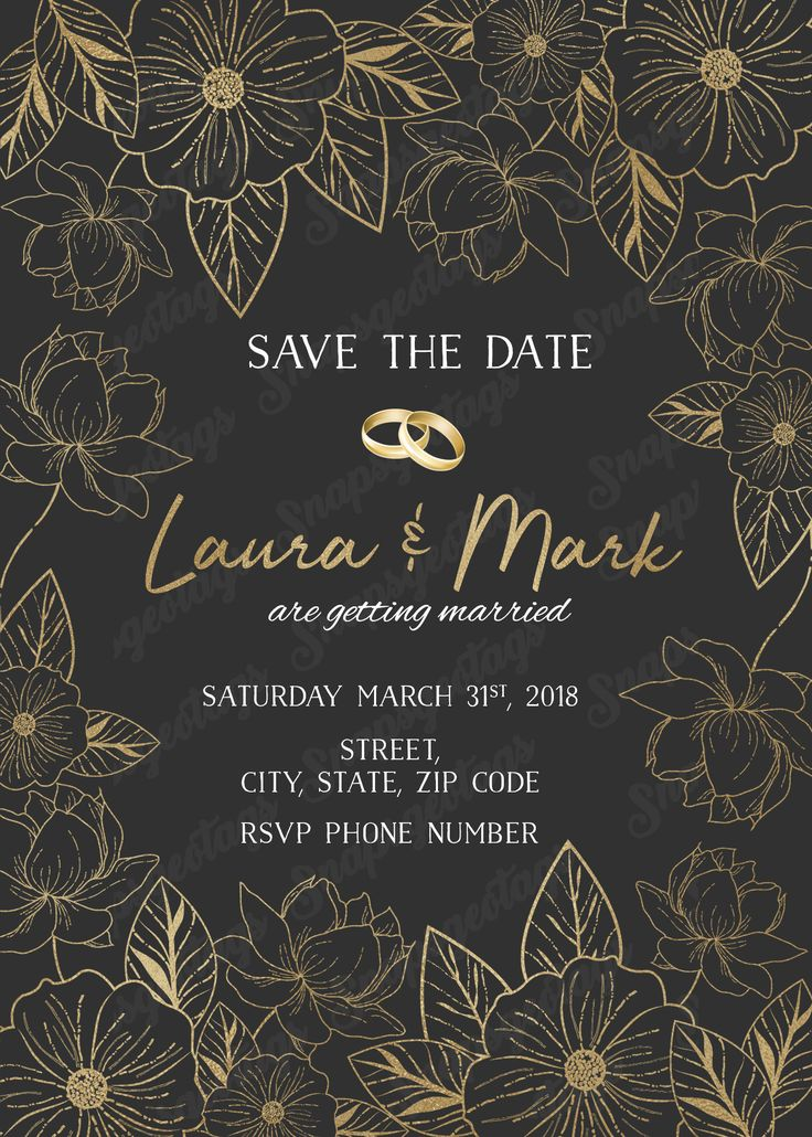 wedding stationery free printable%0A PRINTABLE Save the date invitation  Wedding invitations  Weddings  Elegant  flowers  Gold flowers