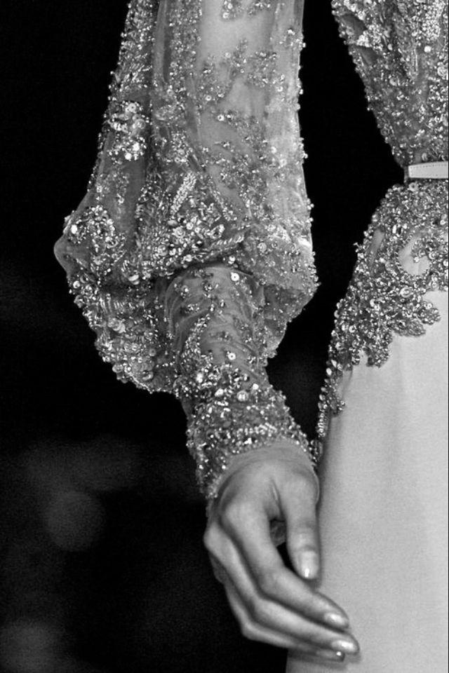 Elegant crystal embellished haute couture dress close up; sparkly fashion details // Elie Saab