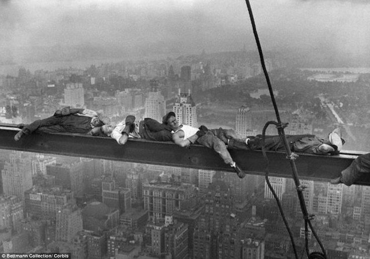 The Photo After The Famous Photo (15 minutes later): The famous photo was taken on September 20th, 1932, during the construction of the RCA Building (now the GE Building) in Rockefeller Center. The workers, without safety harnesses, are 69 floors (840 feet) above the street.
