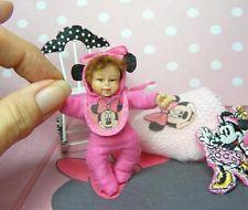 Dollhouse Miniature Baby Girl Doll Ooak Minnie Mouse Set 1:12 Award Artist Made