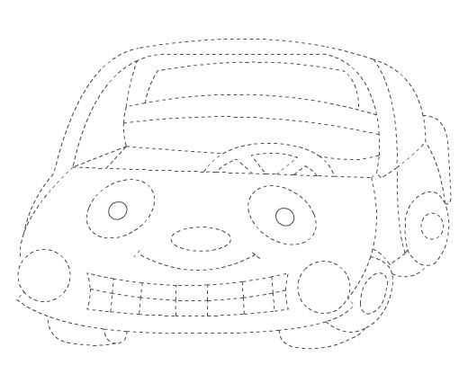 Güler yüzlü araba - Çizgi Çalışması - Okul öncesi çocuklar için güzel bir çizgi çalışması.