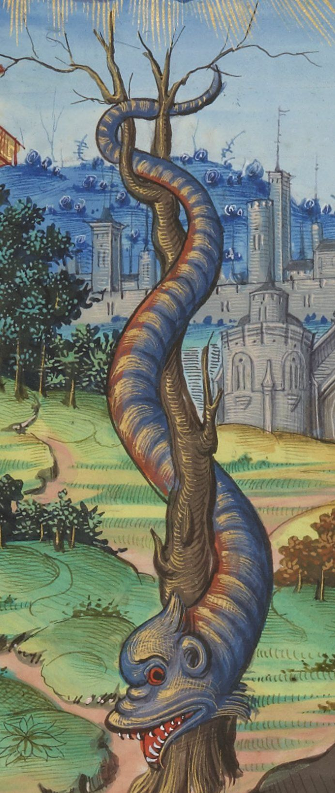 Aldus' dolphin ashore: the Serpent. Chants royaux sur la Conception, couronnés au puy de Rouen de 1519 à 1528. Source: gallica.bnf.fr