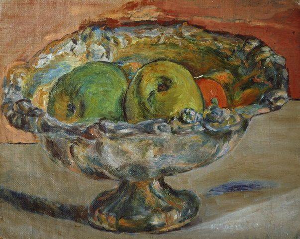 Hanna Rudzka-Cybisowa: Martwa natura z patera i jablkami. 1927