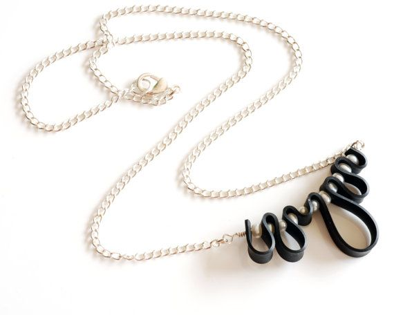 Squiggle innertube necklace with pearls $29 on etsy by livelyleafdesigns