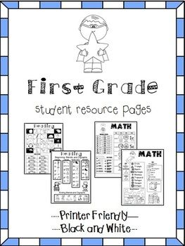 All pictures are made black and white to be printer friendly and be easier to print out/photocopy for multiple student journals.  Also check out: Kindergarten Help Pages COLOR First Grade and Kindergarten Help Pages  Reading Pages: 2 easy to read pages with kid-friendly graphics to use as reference for certain skills.