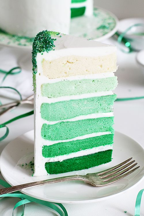 Green Ombre Layer Cake covered in Green Sprinkles!  Step-by-step instructions for how to create this cake!