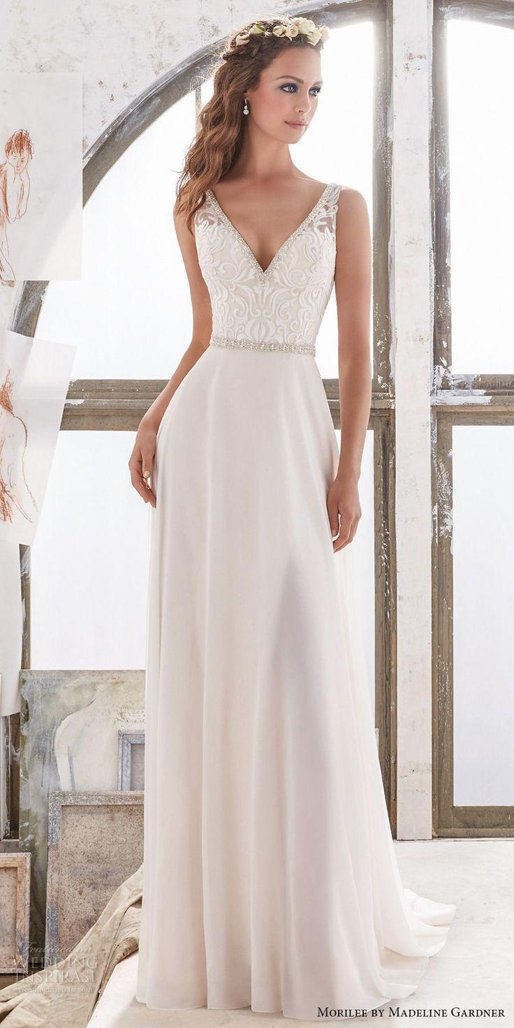 Sheath Wedding Gown Pattern : Bodice elegant sheath wedding dress open v back chapel train mv