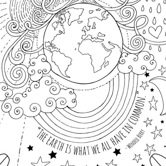 Earth Day Coloring Page Teacher Classroom Sign Printable The Etsy Earth Day Coloring Pages Earth Day Drawing Earth Day Projects