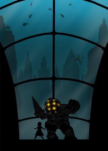 bioshock the protector of big daddy bioshock little sister underwater game games gamer gaming room video black shadow fish octopus underworld city town monster beast 2k bigdaddy bio shock steam infinite Characters