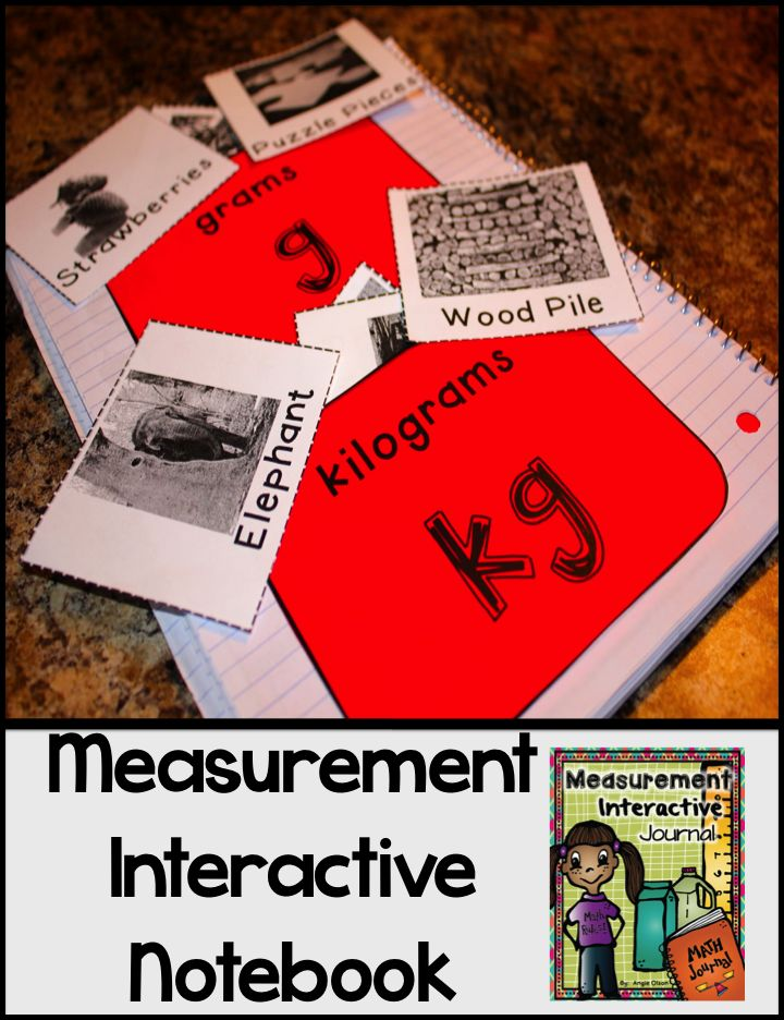 This 52-page product is jam-packed with measurement goodies...  What's Included: *Explanation of Interactive Math Notebooks *Measurement Vocabulary Words *Length, Capacity, & Weight Sorting *Measure It (length-inches) *Drawing Line Segments *Find the Perimeter *Find the Area *Kilograms & Grams Sorting *Milliliters & Liters Sorting *Gallon Conversions *Measurement Estimating *Pick Your Tool *Photos of these interactive math notebook pages