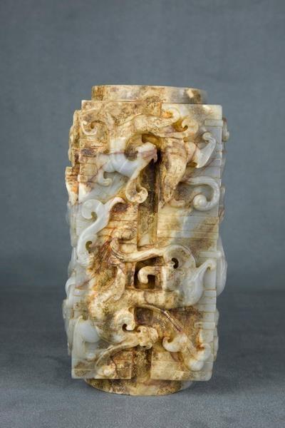 Green White Jade, Ceremonial Dragon Pillar, Song Dynasty