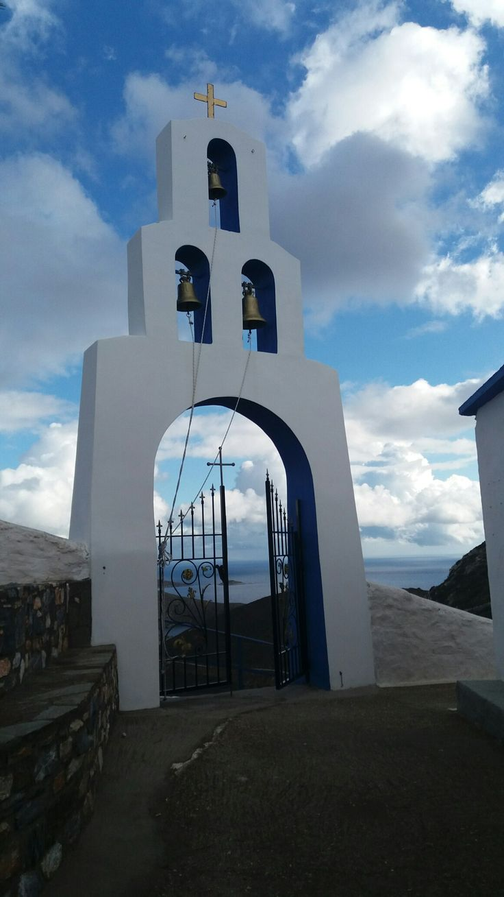 •Fourni Island Greece•  Greek church with view at the see