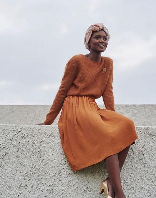 model in shades of orange and peach head scarf / sfgirlbybay