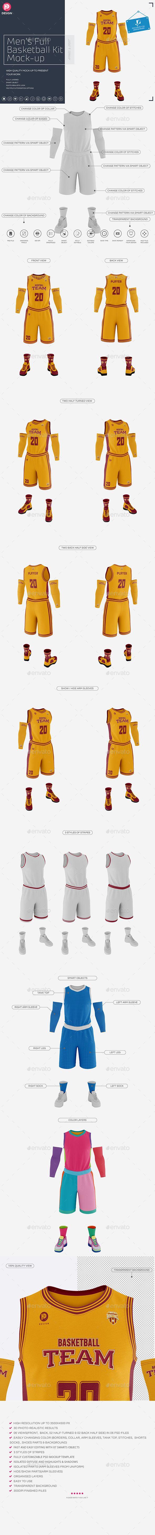 Men's Full Basketball Kit Crew-Neck Jersey #Mock-Up - Miscellaneous Apparel
