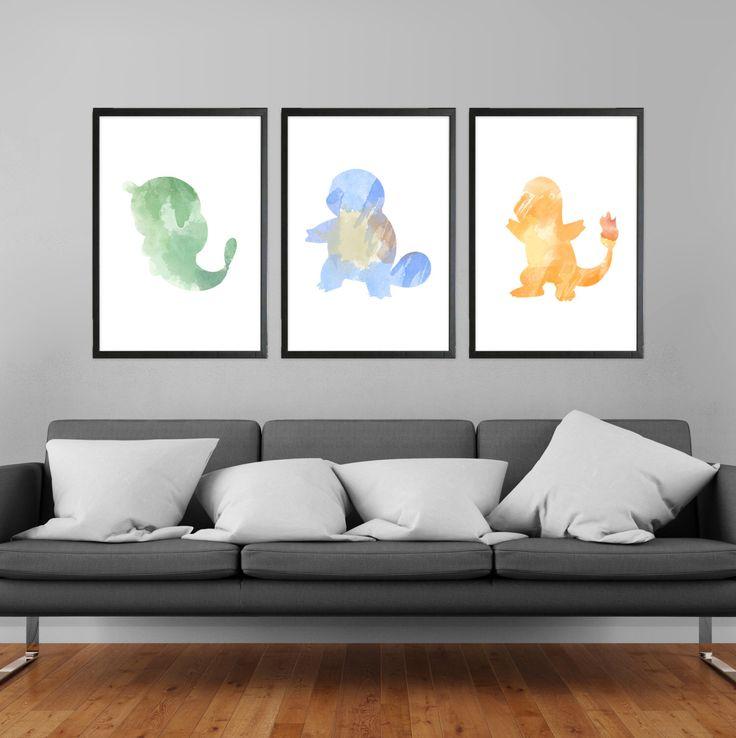 living room art prints%0A Pokemon Go Characters Modern Art Prints Watercolor  Set of