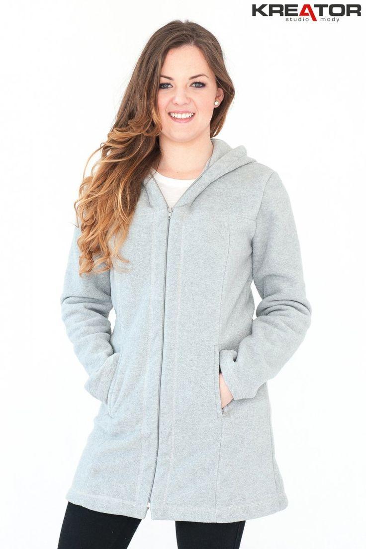 Płaszcz polarowy z kapturem, Kreator Studio Mody, r. 46-48 XL - Rozmiar 46-48 XL - Płaszcze polarowe