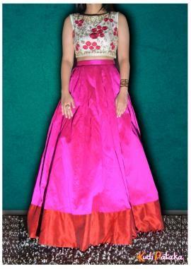 Light Lehenga - Floral Print Blouse and Pink Lehenga