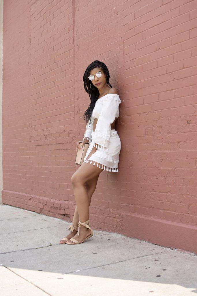 3c9a5022c SHEIN Cream Bell Sleeve Layered Tassel Trim Crop Bardot Top & Skirt Set,  Cream Two Piece Co-Ord Set