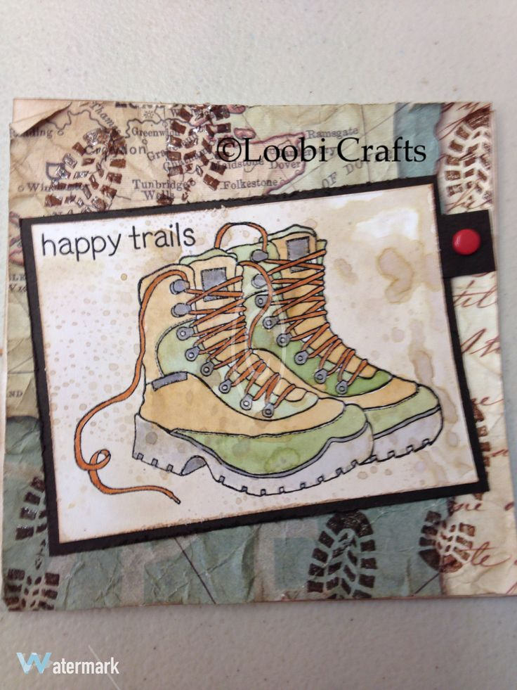 @Loobicrafts. Woodware walking hiking boots stamp.